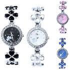 Women's/Girl's Clovers Diamante Rhinestone Cuff Bangle Analog Watch Quartz Watch