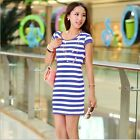 Summer Women's Short Sleeve Striped Dress Bodycon Silm Casual Strap Dresses LJ