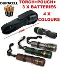 SUPER BRIGHT ZOOMABLE 5/7W LED TORCH FLASHLIGHT COLOURS DURACELL BATTERY POUCH