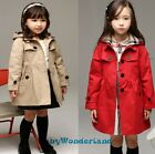 New Girls 2 Colours Detachable Hood Classic Trench Coat Outfit Clothes Size 2-8Y