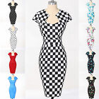 Vintage Retro Polka dot Swing 50s Housewife Pinup Rockabilly PENCIL WIGGLE Dress