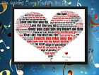 Your Favourite Song Made Into Heart Word Art Framed-Personalised/First Song/Love