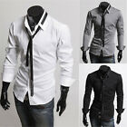 Mens Slim Fit Lapel Long Sleeve Casual Dress Shirts Chic Thin Tie Tops