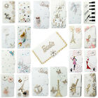 3D Bling Handmade Diamonds Wallet PU Leather Flip Case Cover For HTC #1