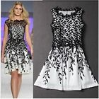 Womens Lace Embroidery Salix Leaf Print Sleeveless Cocktail Party Dresses LJ