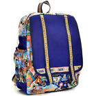Nylon Fun Prints Backpack School Bag Bookbag with Flap Over Compartment