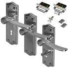 Satin Chrome Door Handle Set Mortice Lever Latch Lock Bathroom New Pack