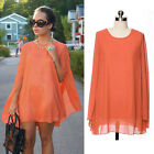 Celeb Women's Batwing Mini Dress Orange Chiffon Ladies Fashion Top Cape Dress