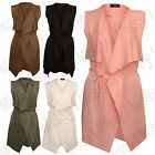 New Womens Ladies Celeb Sleeveless Waterfall Belted Cape Cardigan Jacket Top