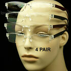4 PAIR LOT READING GLASSES CLEAR LENS MEN WOMEN NEW STRENGTH RIMLESS RECTANGLE