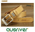 Premium New Genuine Cow Leather JEEP Men's Belt Waistband Casual Business Camel