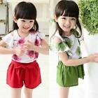 Baby Girls Kids Floral 2Pcs Summer Outfits Short Sleeve T-shirt Tops+Shorts Sets