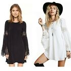 Chic Womens Lady Lace Patchwork Loose Long-sleeved A-line Casual Mini Dress B