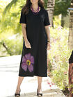 Ulla Popken BLACK Wild Orchid Stamp Print Cotton Knit Dress Sizes 12/14 to 28/30