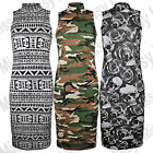 Womens Printed Sleeveless Polo Turtle Neck Stretch Bodycon Midi Length Dress Top