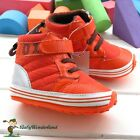 Baby Boys Girls Orange None Slip Elastic Lace Sneaker Boots Shoes Size 0-2Years