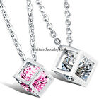 Fashion Men's Women's Jewelry Magic Cube Pendant  Stainless Steel Chain Necklace