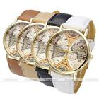 Vintage Globe World Map Dial Gold Quartz Analog Wrist Watch Women Ladies Gift