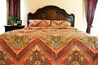 Tache New 3 Piece Red Spring Paisley Floral Hanging Gardens Bedspread Quilt Set image
