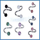 14G Spiral TWIST Barbell Ball Navel Belly Button Ring Bar Body Piercing Jewelry
