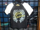 NOS Harley Davidson Girls Baby White Wings Interlock Black Short Sleeve T-Shirt