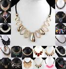 Retro Crystal Rhinestone Gems Bead Choker Bib Statement Necklace Pendant Vintage