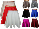 NEW LADIES WOMEN BELTED SKATER FLARED JERSEY PLAIN MINI PARTY DRESS SKIRTS 8-14