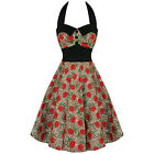 Hell Bunny Rose Leopard Dress 50s Wedding Pin Up Prom Rockabilly Floral Dress