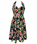 Hell Bunny Hibiscus Flowers 50s Maui Dress Black Tropical Rockabilly Floral