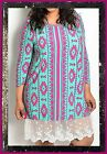 PLUS SIZE PINK MINT BLUE AZTEC WHITE LACE BOHO SHIRT TUNIC DRESS  1X 2X 3X