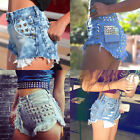 Women Loose-fitting High Waist Denim Jeans Rivet Hole Ripped Casual Shorts