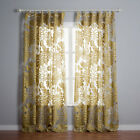 3QMart Pair Floral Print Sheer Voile Tulle Window Curtain Drape Ring Top 2 Panel