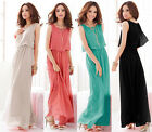 Ladies Sexy Chiffon Long Party BOHO Sundress Cocktail Summer Sleeveless Dresses