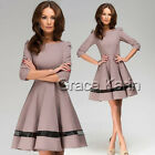 NEW CLASSY AUDREY VINTAGE 1950's ROCKABILLY PINUP SWING EVENING DRESSES RED TAN
