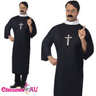 Mens Priest Costume Robe Clerical Collar Adult Monk Vicar Religious Fancy Dress