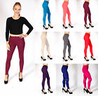 New Ladies Womens Plain Stretch Elasticated Full Length Long Leggings Pants 8-14