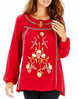 Anthology at Marisota EMBROIDERED Red FOLK Gypsy Blouse / Tunic Sizes 12 to 32