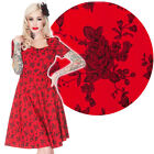 Voodoo Vixen Red Roses 50's Dress Vintage Rockabilly Pin Up Retro Floral Cut-Out