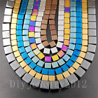 Natural Hematite Gemstone Square Cube Silver Gold Multi color Beads 16''2 3 4mm