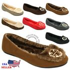 New Womens Moccasins Suede Sheepskin Fur Slip-on Indoor Outdoor Loafer Shoes
