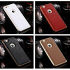 Luxury Genuine Leather Aluminium Metal Frame Cover Case For Apple Iphone 6/6Plus