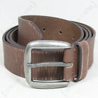 Brown LEATHER Vintage Style Military TROUSER BELT with Metal Buckle - All Sizes