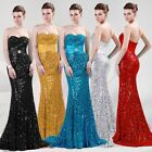 Sequins Mermaid Sexy Women Long Bridesmaid Strapless Cocktail Wedding Gown Dress