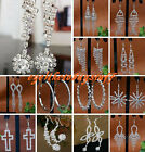 Fashion Silver Tone Chandelier Tassel Rhinestone Earrings Hook Women Pair