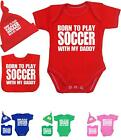 BabyPrem Baby Clothes Boys Girls SOCCER Daddy Bodysuit Hat Bib Set Shower Gifts