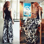 FD2434 Women's Vintage Printing Casual Wide Leg Long Pants Cotton Palazzo Trouse