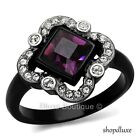 Women's Princess Cut Amethyst CZ Black Stainless Steel Fashion Ring Size 5-10