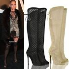 WOMENS LADIES KNEE HIGH HEELS STILETTOS MESH PARTY BOOTS LACE UP OPEN TOE SIZE