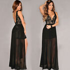 Womens long Maxi Beach Party HIGH LOW Casual Evening Beach Dress S L BLACK WHITE