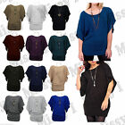 Womens 3/4 Sleeve Batwing Plain Knitwear Knitted Jumper With Necklace Top 8-14